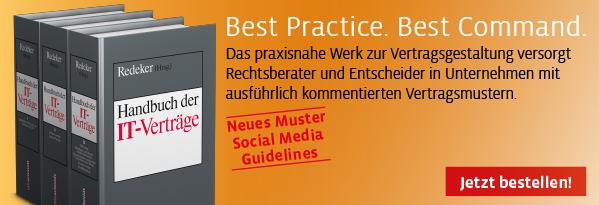 Redeker, Handbuch der IT-Verträge. Hier bestellen!